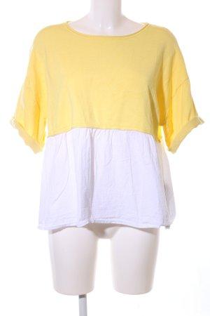 Zara Knit Kurzarmpullover blassgelb-weiß Casual-Look