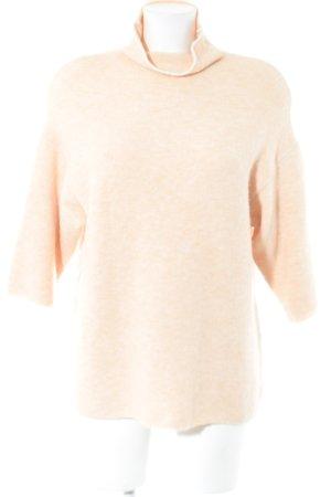 Zara Knit Kurzarmpullover beige Casual-Look