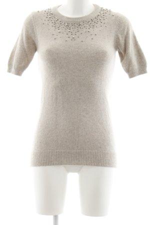 Zara Knit Sweater met korte mouwen beige-lichtgrijs gestippeld