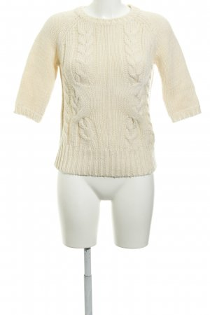 Zara Knit Kurzarmpullover creme Zopfmuster Country-Look