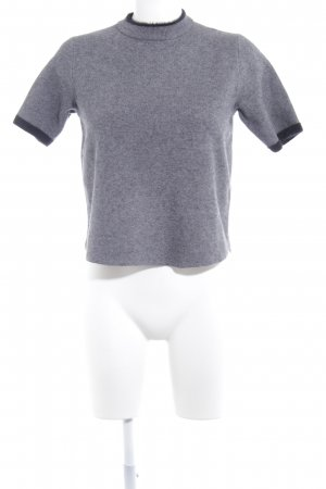 Zara Knit Sweater met korte mouwen leigrijs-zwart pluizig