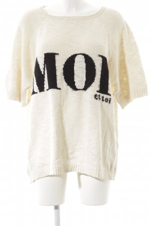 Zara Knit Short Sleeve Sweater oatmeal-black embroidered lettering casual look