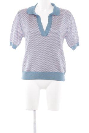 Zara Knit Sweater met korte mouwen lichtroze-cadet blauw zigzag patroon