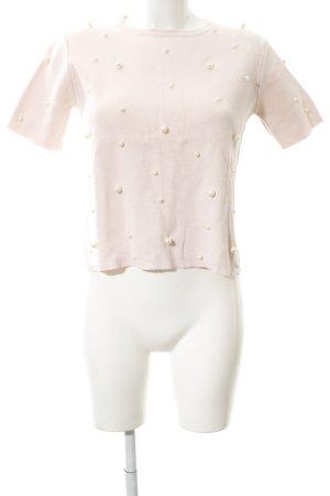 Zara Knit Sweater met korte mouwen rosé elegant
