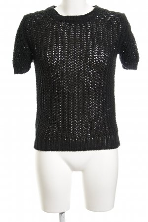 Zara Knit Short Sleeve Sweater black-forest green loosely knitted pattern