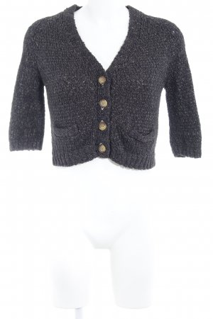 Zara Knit Gebreid jack met korte mouwen zwart-grijs casual uitstraling