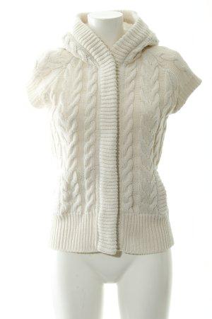 Zara Knit Cárdigan de manga corta blanco puro punto trenzado look casual