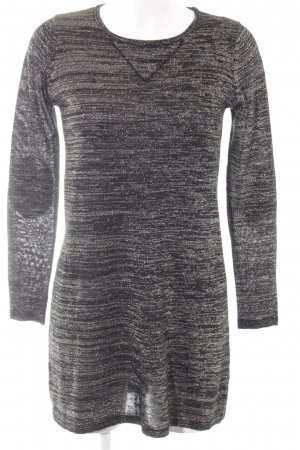 Zara Knit Langarmkleid schwarz-goldfarben meliert Elegant