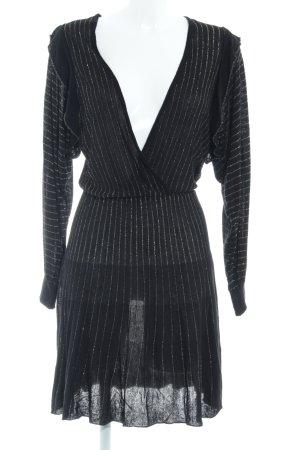 Zara Knit Langarmkleid schwarz-goldfarben Streifenmuster Elegant