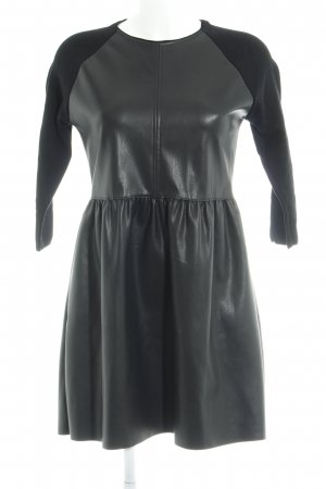 Zara Knit Leather Dress black casual look