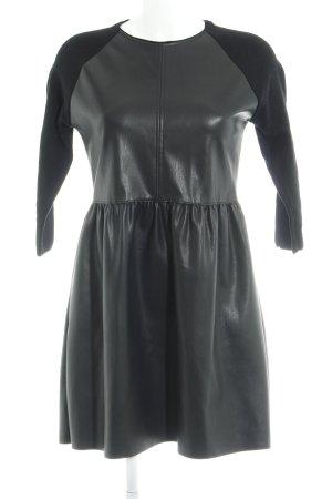 Zara Knit Leren jurk zwart casual uitstraling