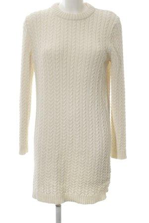 Zara Knit Jersey largo blanco punto trenzado look casual