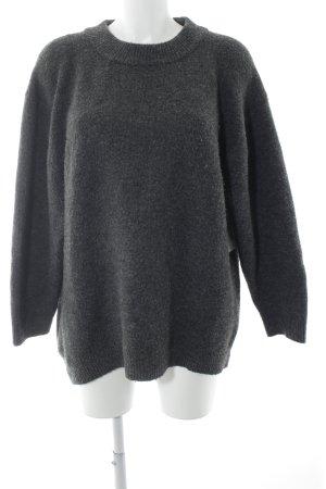 Zara Knit Longpullover grau meliert Casual-Look