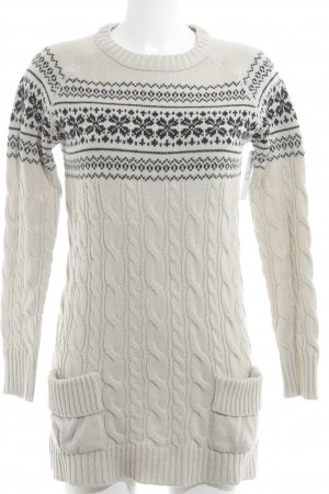 Zara Knit Long Sweater oatmeal-dark blue graphic pattern casual look