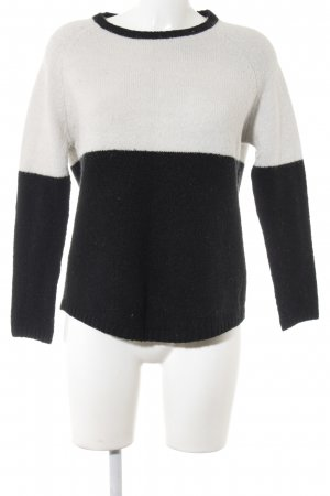 Zara Knit Longpullover schwarz-wollweiß Colourblocking Casual-Look
