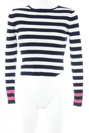 Zara Knit Longpullover weiß-dunkelblau Streifenmuster Casual-Look