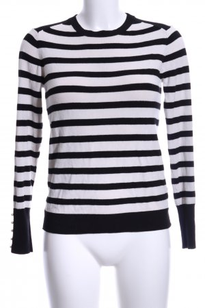 Zara Knit Longsleeve creme-schwarz Streifenmuster Casual-Look
