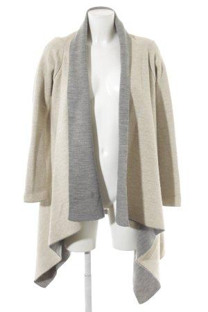 Zara Knit Gilet long tricoté gris-crème Motif de tissage style décontracté