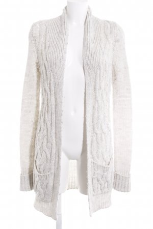 Zara Knit Gilet long tricoté blanc cassé Motif de tissage style décontracté