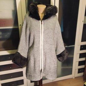 Zara Knit Mantel mit Kunstfell Gr M top