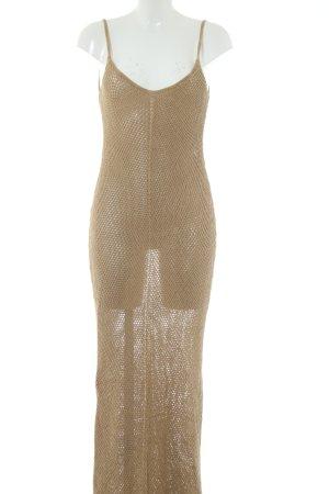 Zara Knit Maxikleid nude Webmuster extravaganter Stil