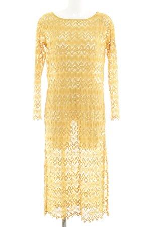 Zara Knit Maxikleid goldorange florales Muster Spitzen-Optik