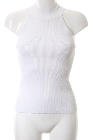 Zara Knit Top senza maniche bianco motivo a righe stile casual