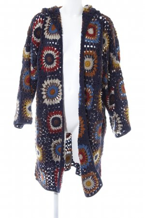 Zara Knit Norweger Strickjacke dunkelblau-cognac florales Muster Casual-Look