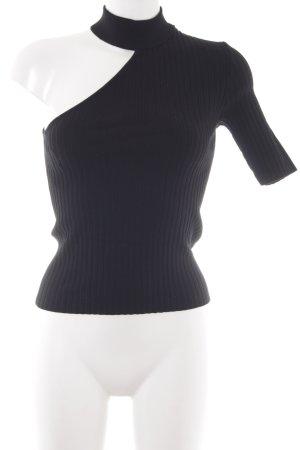 Zara Knit One-Shoulder-Shirt schwarz Street-Fashion-Look
