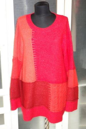 ZARA Knit oversized Patchwork Sweater in rot-orange Gr.M