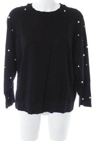 Zara Knit Oversized Pullover schwarz-hellbeige Casual-Look