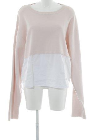 Zara Knit Oversized Pullover weiß-rosé Webmuster Casual-Look
