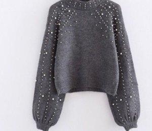 Zara Maglione lavorato a maglia grigio