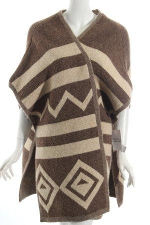 Zara Knit Poncho bruin-licht beige etnische print Azteken print