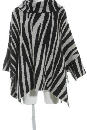 Zara Knit Poncho noir-gris clair molletonné