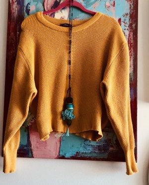 Zara knit  Pulli crop 90ies Fledermaus ocker Blogger S