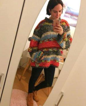 Zara Knit Pulli Pullover Strick Jumper Streifen meliert Bommel Pompom Oversize