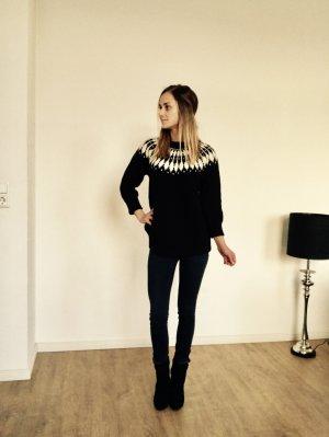 Zara Knit Pullover Strick Norweger Muster Schwarz Weiß M L 38 Blogger