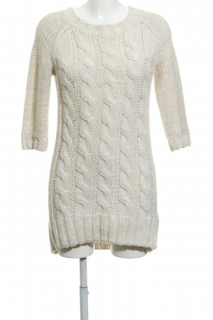 Zara Knit Sweater Dress cream-natural white cable stitch classic style
