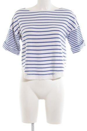 Zara Knit Ringelshirt weiß-blau Streifenmuster Casual-Look