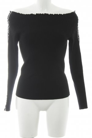 Zara Knit Ribbed Shirt black-white casual look