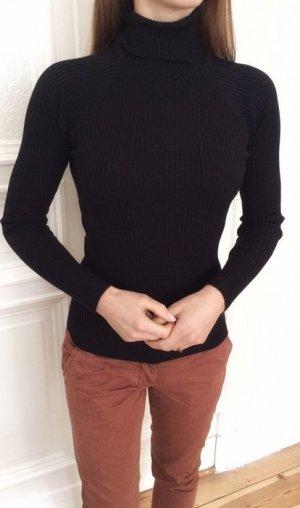 Zara Knit Rollkragen Pullover schwarz Rippenstrick S 36