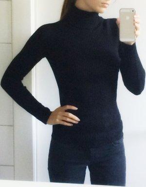Zara Knit Rollkragen Pullover schwarz Rippenstrick S 36 XS 34