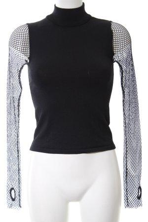 Zara Knit Rollkragenpullover schwarz extravaganter Stil