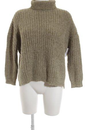 Zara Knit Rollkragenpullover graugrün-wollweiß Webmuster Vintage-Look