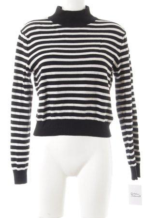 Zara Knit Rollkragenpullover schwarz-wollweiß Ringelmuster Casual-Look