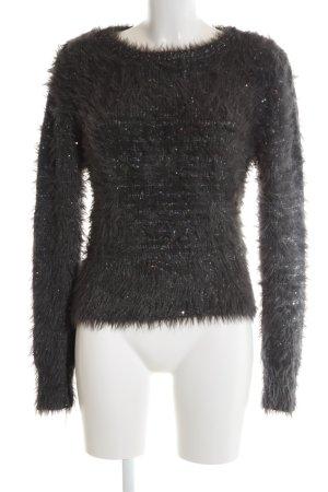 Zara Knit Rundhalspullover schwarz Casual-Look