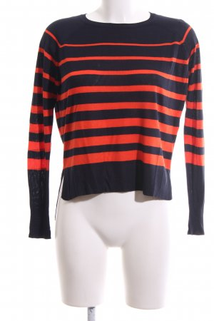 Zara Knit Rundhalspullover blau-rot Streifenmuster Casual-Look