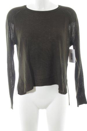 Zara Knit Jersey de cuello redondo verde oscuro look casual