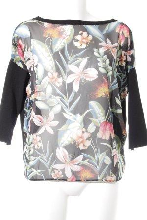 Zara Knit Rundhalspullover florales Muster extravaganter Stil